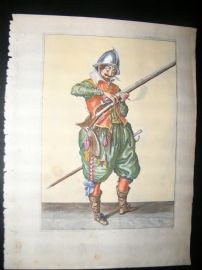 Jacob de Gheyn 1608 Fine Hand Coloured Musketeer Print 41